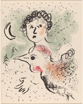 Greeting Card (Woman with a Large Bird and Moon)