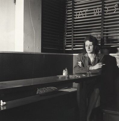 Girl Sitting Alone in the 'Sea Grill,' a Bar and Restaurant, Waiting for a Pick-up, Washington, D.C.