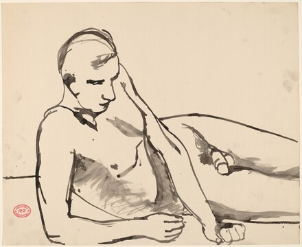 Untitled [reclining nude leaning on his right arm]