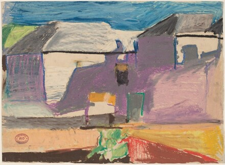 Untitled [landscape with buildings]