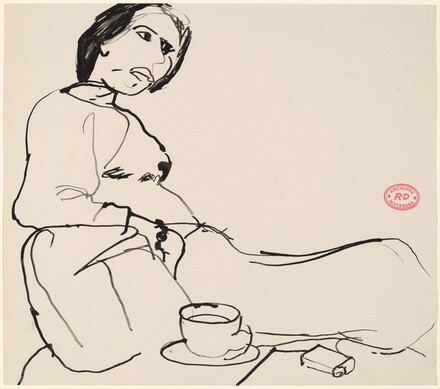 Untitled [seated woman with coffee and a pack of cigarettes]