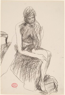 Untitled [seated female nude resting her head on her hand]
