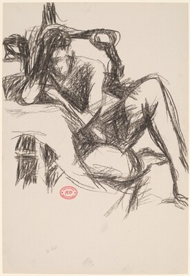 Untitled [seated female nude leaning against a support]