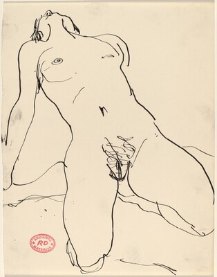 Untitled [kneeling female nude leaning back]