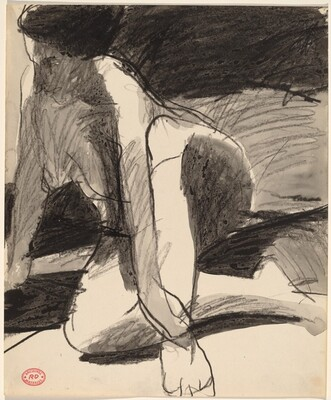 Untitled [female nude crossing her legs and holding her ankle]