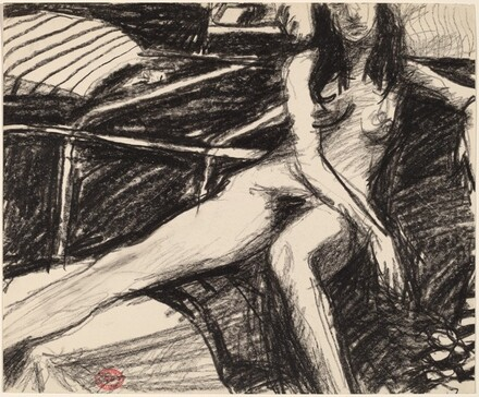 Untitled [female nude sitting with her right leg up]