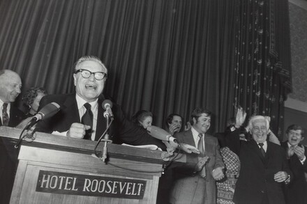 Nelson Rockefeller, Republican Headquarters on Election Night of Nixon Landslide, New York City
