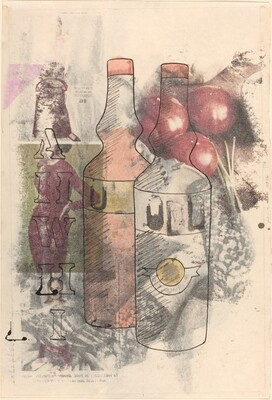Bottle, Fruit, and Figure