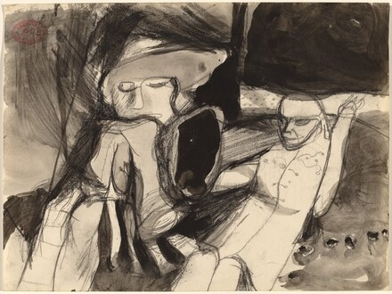 Untitled [two seated figures, one leaning forward]