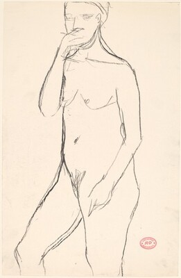Untitled [standing female nude with right hand to mouth]
