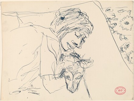 Untitled [woman holding a dog]