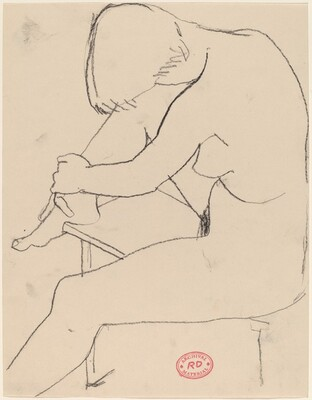 Untitled [nude seated with her foot on bench]