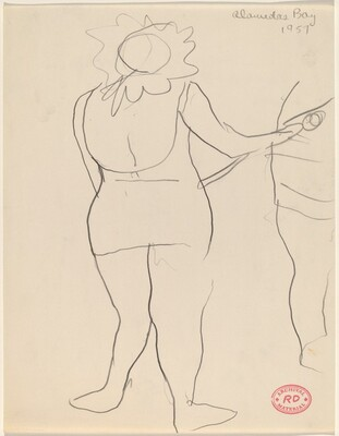 Untitled [back view of a standing woman in a frilled hat]