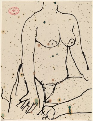 Untitled [nude seated with her hands on her knees]