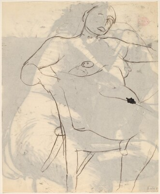 Untitled [female nude leaning back in chair and facing right [verso]