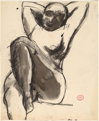 Untitled [seated nude with her arms behind her head]