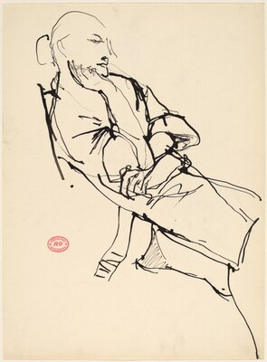 Untitled [reclining woman with her hair in a bun]