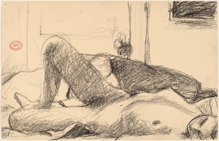 Untitled [female nude reclining with a door in the background]