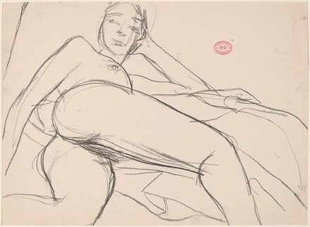 Untitled [reclining nude leaning on her left arm]