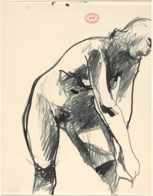 Untitled [standing nude reaching down to adjust her stocking]