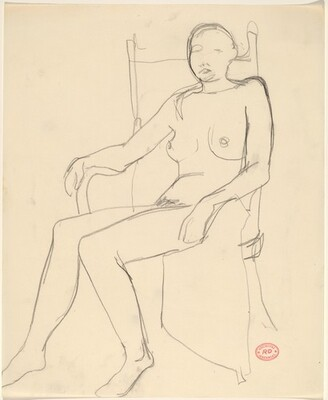 Untitled [nude turning to the left in her chair]