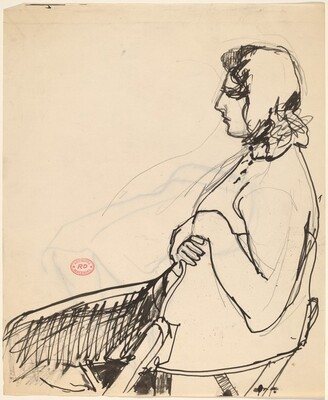 Untitled [side view of a seated woman]