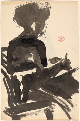 Untitled [side view of a seated model]