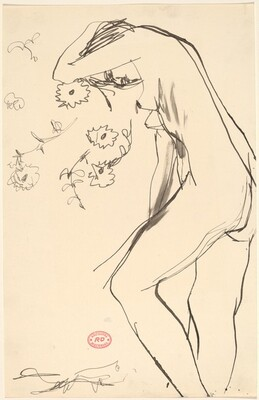 Untitled [standing female nude leaning into a floral pattern]