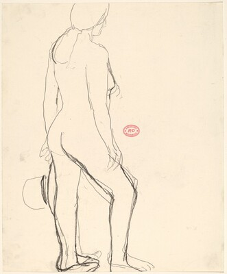 Untitled [standing female nude with hat in left hand]