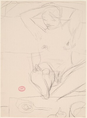 Untitled [seated female nude with foot on table and arms behind head]