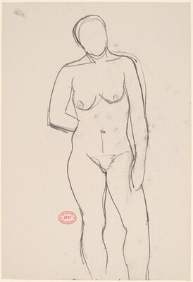 Untitled [front view of standing female nude with arm behind back]
