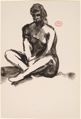 Untitled [female model seated with crossed legs]