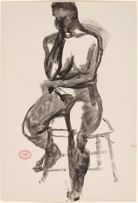 Untitled [seated female nude with head on right hand]