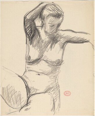 Untitled [female nude looking down with right arm behind head]