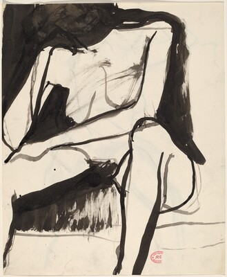 Untitled [seated female nude with left arm resting across legs] [recto]
