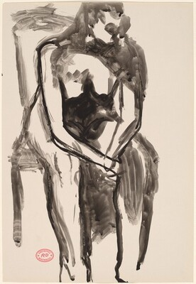 Untitled [seated female nude leaning forward in chair]