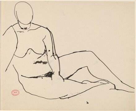 Untitled [seated female nude with left hand on right knee]