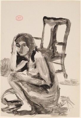 Untitled [female nude crouching in front of a chair]