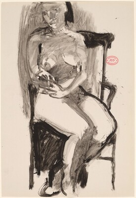 Untitled [seated female nude in high back armchair]