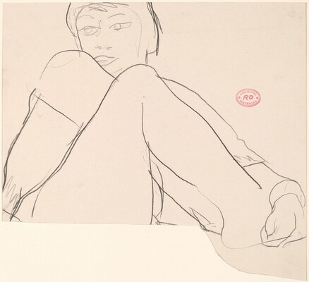 Untitled [model with leg pulled to chest]