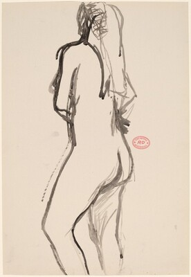 Untitled [standing female nude with long hair]