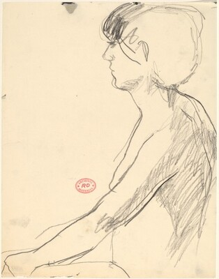 Untitled [seated female nude: side view]