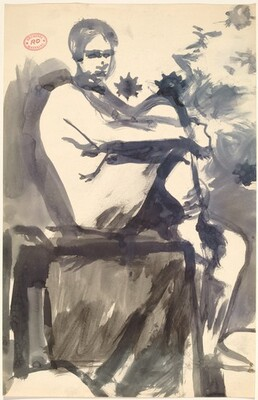 Untitled [female nude seated on model stand]