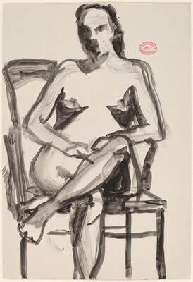 Untitled [nude seated in an armchair and crossing her legs]