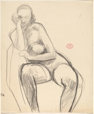 Untitled [seated nude leaning firmly on her right arm]
