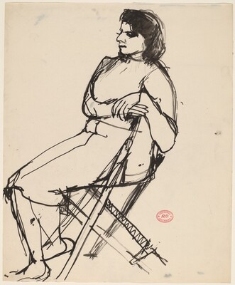 Untitled [side view of a woman seated in a folding chair]