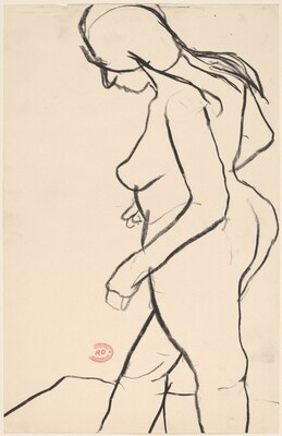 Untitled [side view of female nude looking down]