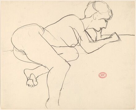 Untitled [female nude leaning forward on her arms]