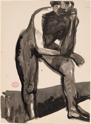 Untitled [standing nude leaning forward on her left leg]