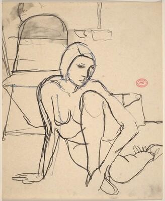 Untitled [female nude seated on the floor]